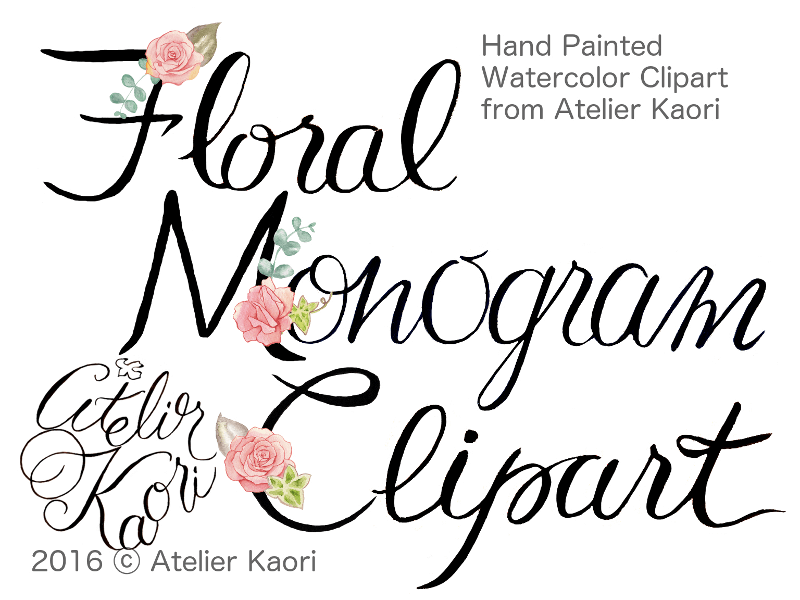 rose monogram clipart