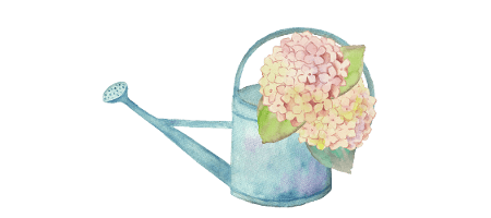 watercolor hydrangea watering can